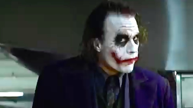 Heath Ledger als The Joker in de batman-film The Dark Knight (2008)