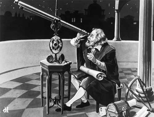 Galileo Galileï achter zijn telescoop