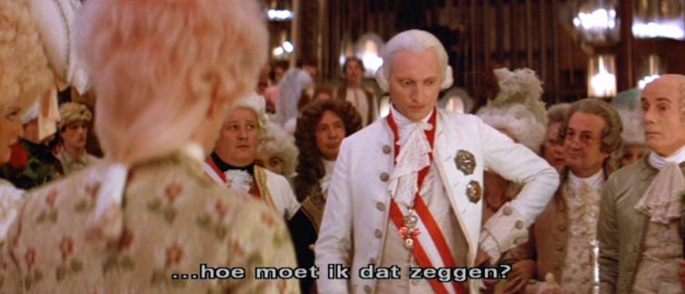 Keizer Joseph II, zoekend naar woorden in zijn gesprek met Mozart.