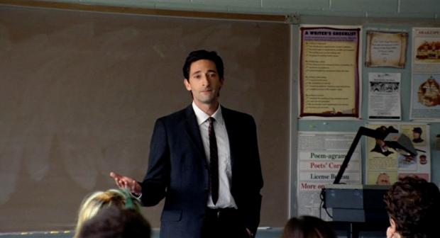 Adrian Brody als de sensitieve docent Mr. Barthes in de film Detachment (2011)